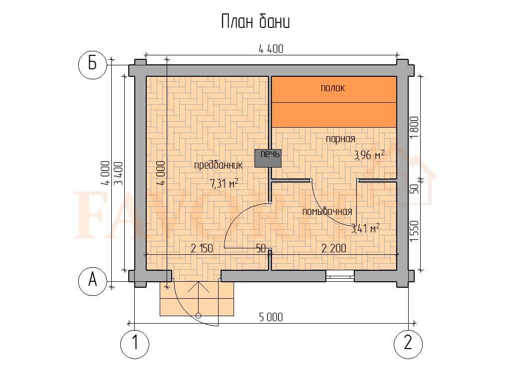 Планировка бани 4х5 из оцилиндрованного бревна