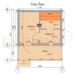 Планировка бани 4х5 из оцилиндрованного бревна с террасой 1,5х5