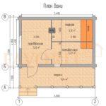 Планировка бани 4х6 из оцилиндрованного бревна с террасой 1,5х6