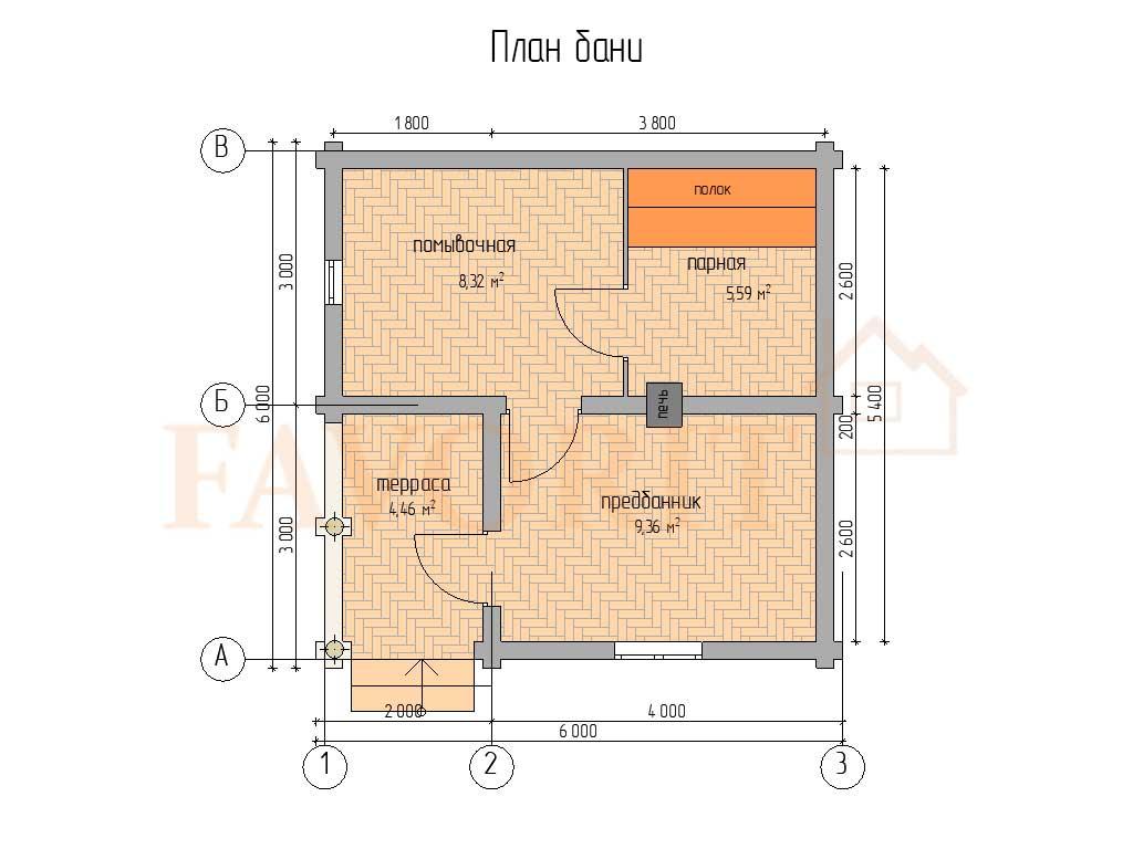 Планировка бани 6х6 из оцилиндрованного бревна с террасой 2х3