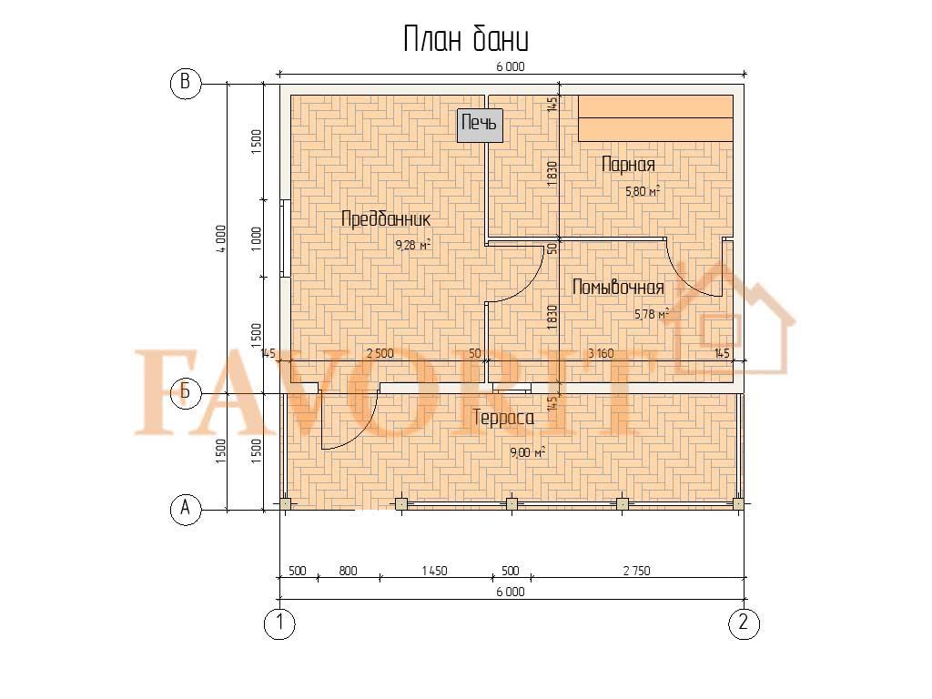 Планировка бани 4х6 из профилированного бруса с террасой 1,5х6