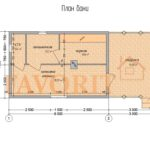 Планировка бани 4х6 из профилированного бруса с террасой 3х4