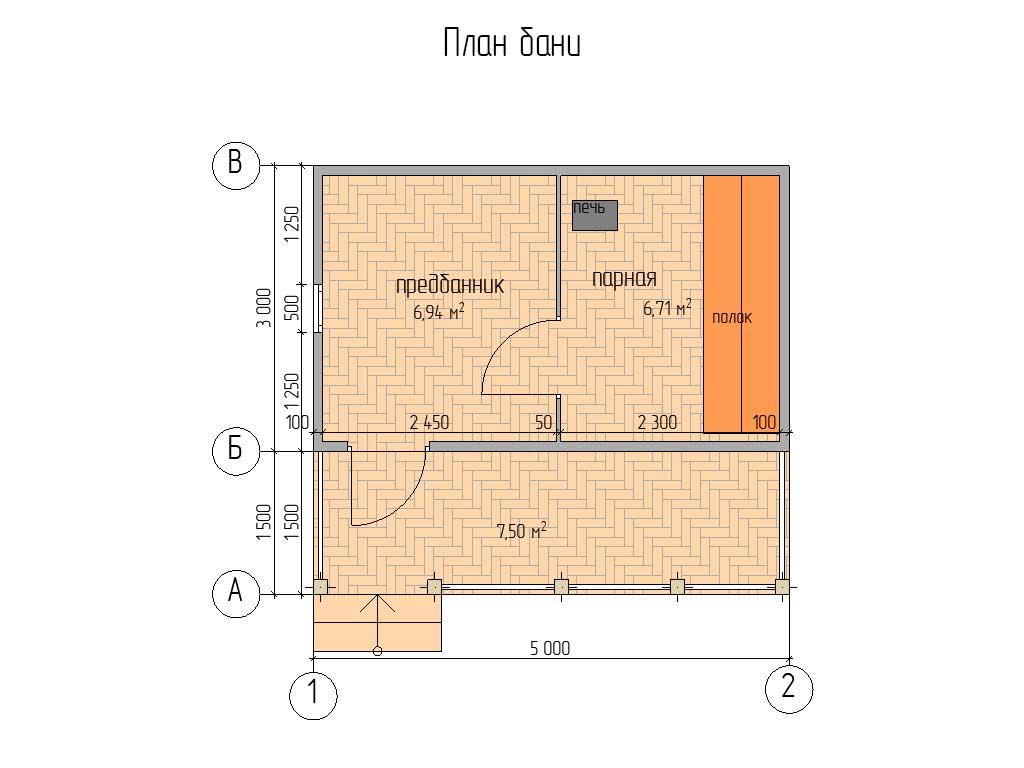 Планировка каркасной бани 3х5 с террасой 1,5х5