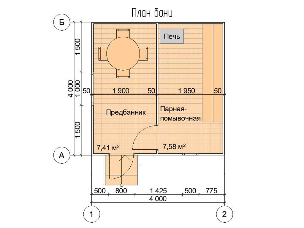 Планировка каркасной бани 4х4