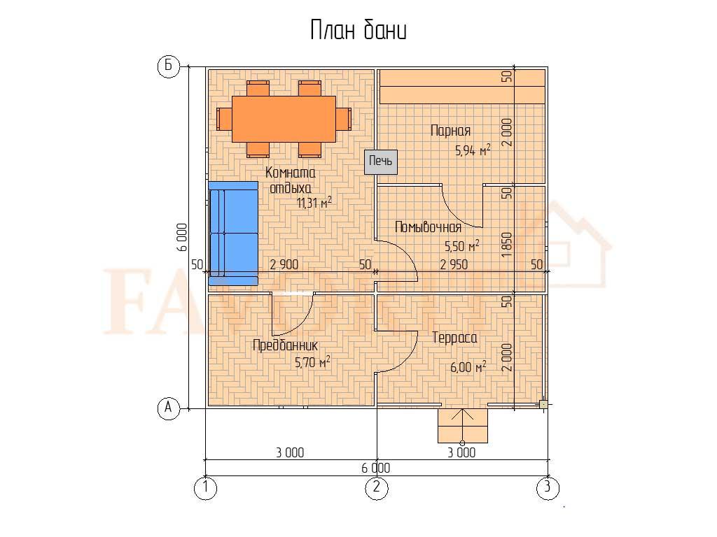 Планировка каркасной бани 6х6 с террасой 2х3