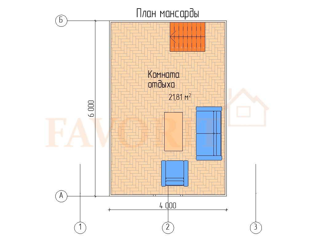 Планировка каркасной бани 6х6 с мансардой – мансарда