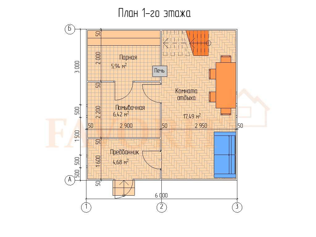 Планировка каркасной бани 6х6 с мансардой – 1 этаж