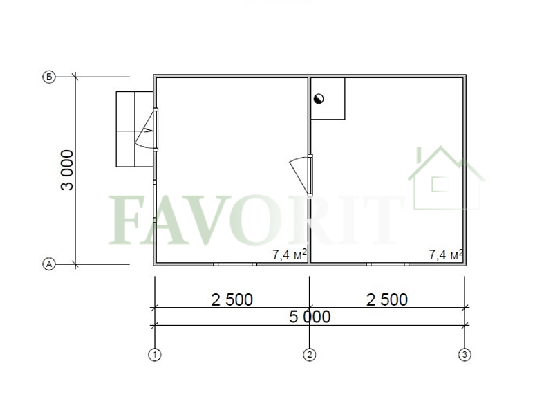 Каркасная баня 3х5 – план проекта