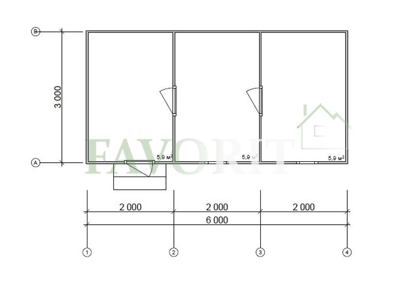 Каркасная баня 3х6 – план проекта