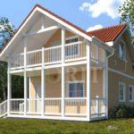 Каркасный дом 6х10 с террасой и балконом 1,5х6 – фото 1