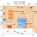 Планировка 1 этажа каркасного дома 6х10 с террасой и балконом 1,5х6