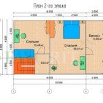 Планировка 2 этажа каркасного дома 6х10 с террасой и балконом 1,5х6