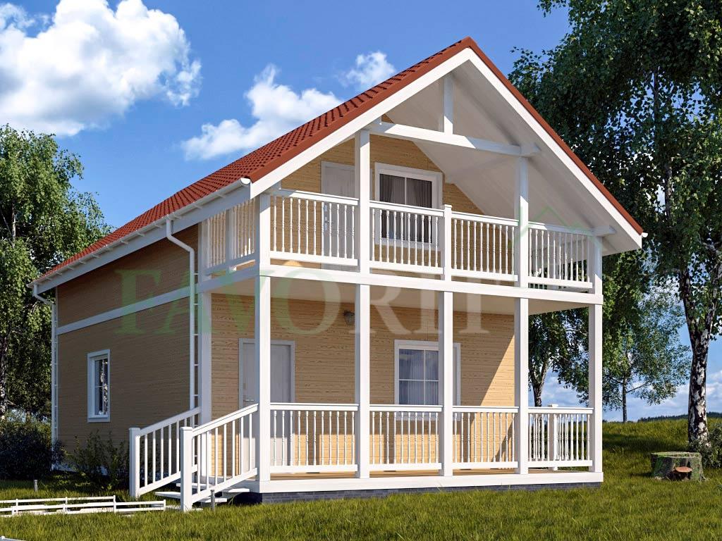 Каркасный дом 6х10 с террасой и балконом 1,5х6 – фото 2