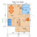 Планировка 1 этажа каркасного коттеджа 6х6 с террасой 1,5х3