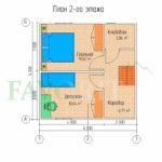 Планировка 2 этажа каркасного коттеджа 6х6 с террасой 1,5х3