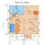 Планировка 1 этажа каркасного коттеджа 6х6 с террасой и балконом 1,5х3