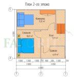 Планировка 2 этажа каркасного коттеджа 6х6 с террасой и балконом 1,5х3