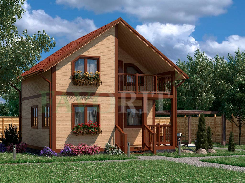 Каркасный коттедж 6х6 с террасой и балконом 1,5х3 – фото 1