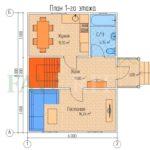 Планировка 1 этажа каркасного коттеджа 6х8 с террасой и балконом 1,5х2