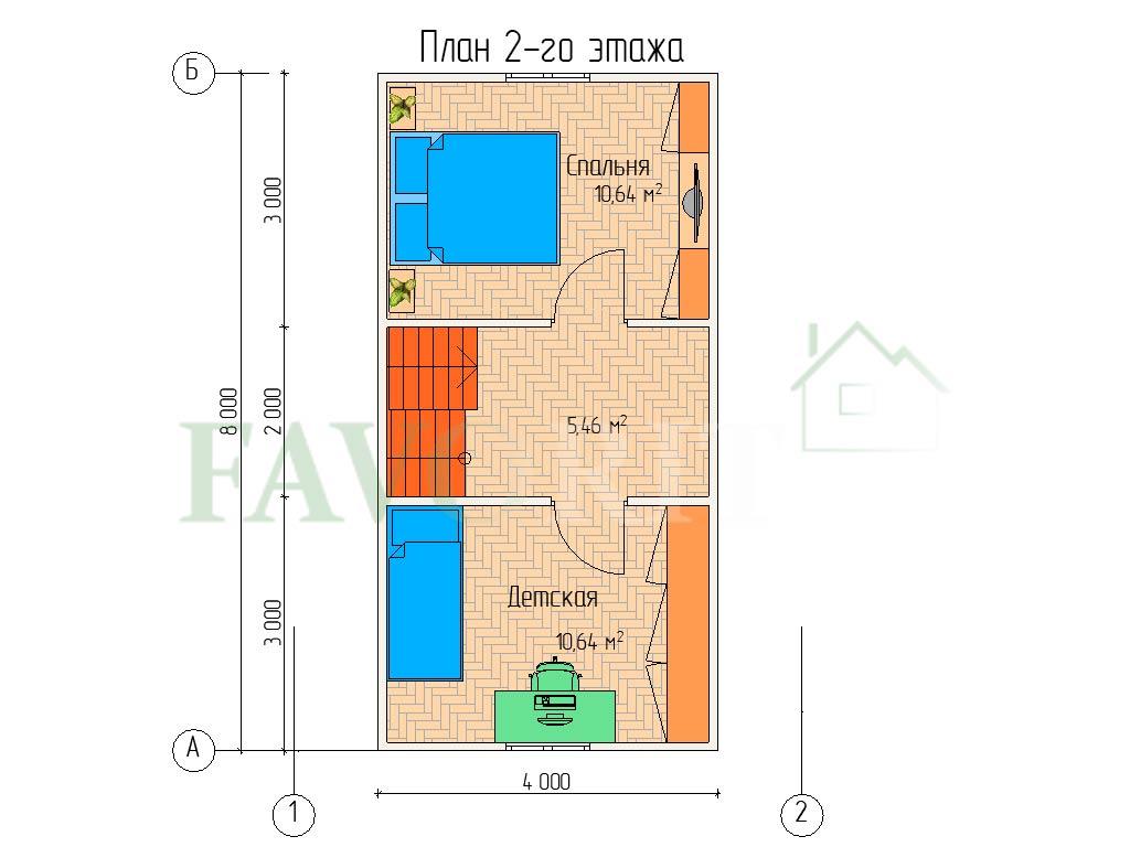 Планировка 2 этажа каркасного коттеджа 6х8 с террасой и балконом 1,5х2
