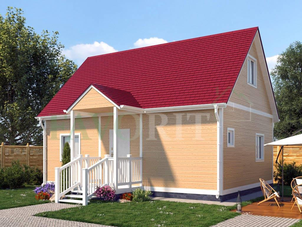 Каркасный коттедж 6х8 с террасой и балконом 1,5х2 – фото 2
