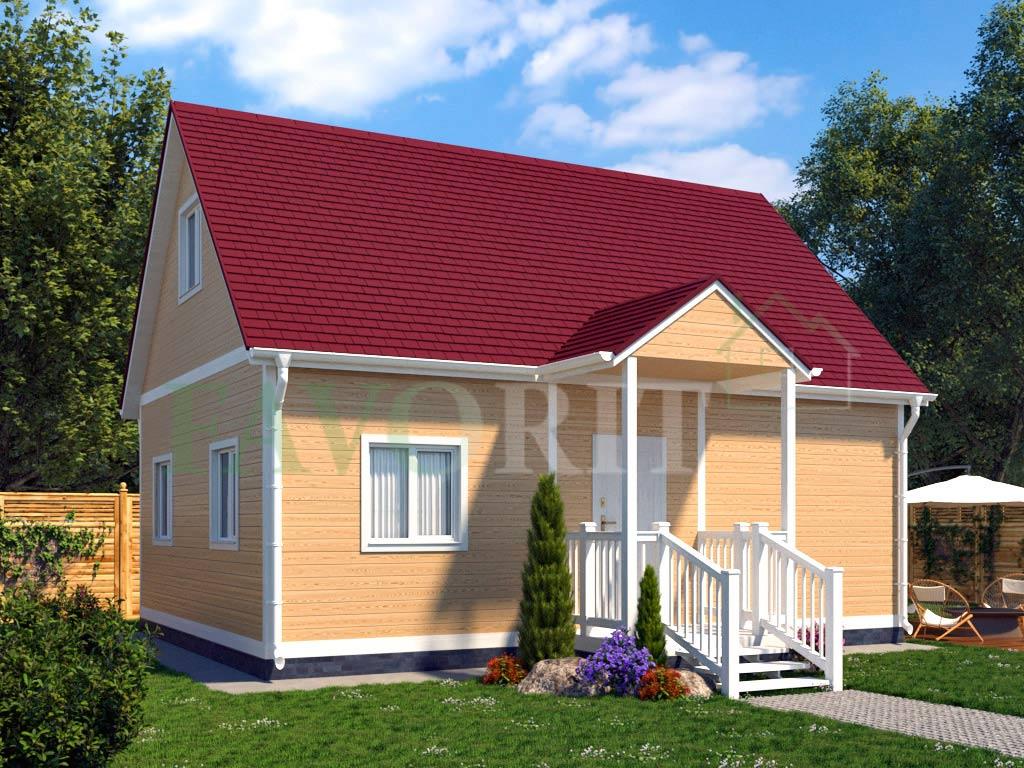 Каркасный коттедж 6х8 с террасой и балконом 1,5х2 – фото 1