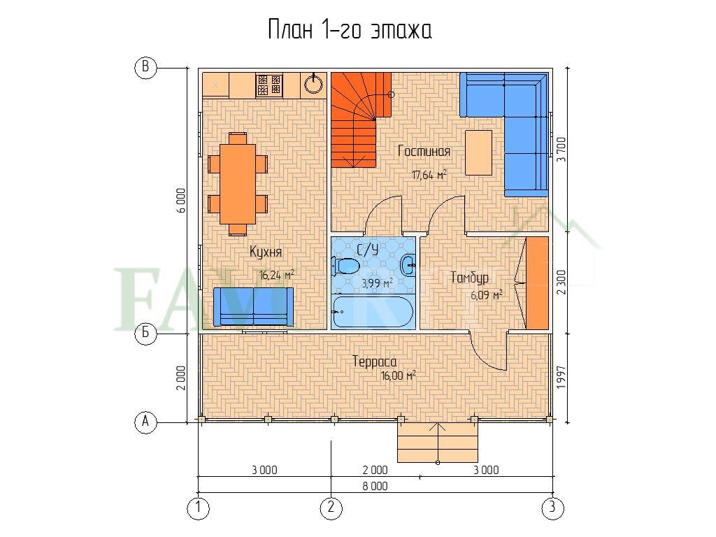 Планировка 1 этажа каркасного коттеджа 6х8 с террасой 2х8
