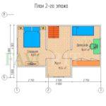 Планировка 2 этажа каркасного коттеджа 6х8 с террасой 2х8