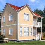 Каркасный дом 7х8 с террасой и балконом 1,5х4 – фото 1