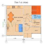 Планировка 1 этажа каркасного дома 7х8 с террасой и балконом 1,5х4