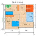 Планировка 2 этажа каркасного дома 7х8 с террасой и балконом 1,5х4