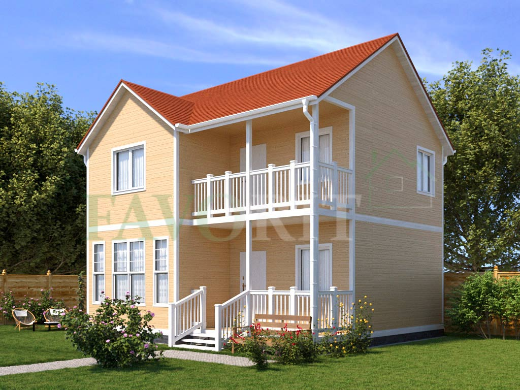 Каркасный дом 7х8 с террасой и балконом 1,5х4 – фото 2