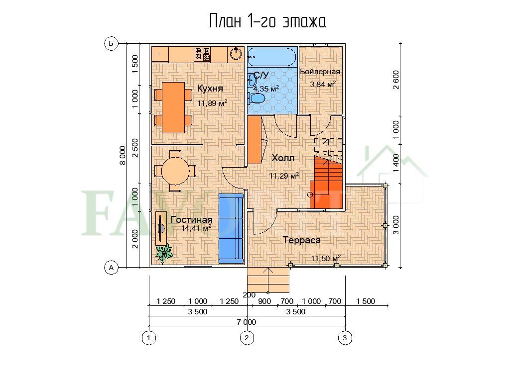 Планировка 1 этажа каркасного коттеджа 7х8 с террасой 3х5