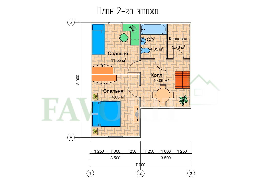 Планировка 2 этажа каркасного коттеджа 7х8 с террасой 3х5