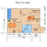 Планировка 1 этажа каркасного дома 8х6 с террасой 2х2
