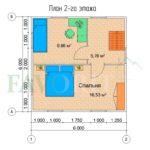 Планировка 2 этажа каркасного дома 8х6 с террасой 2х2