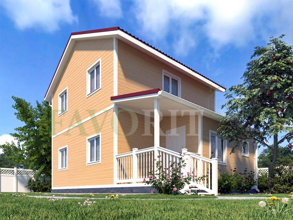 Каркасный дом 8х6 с террасой 2х2 – фото 2