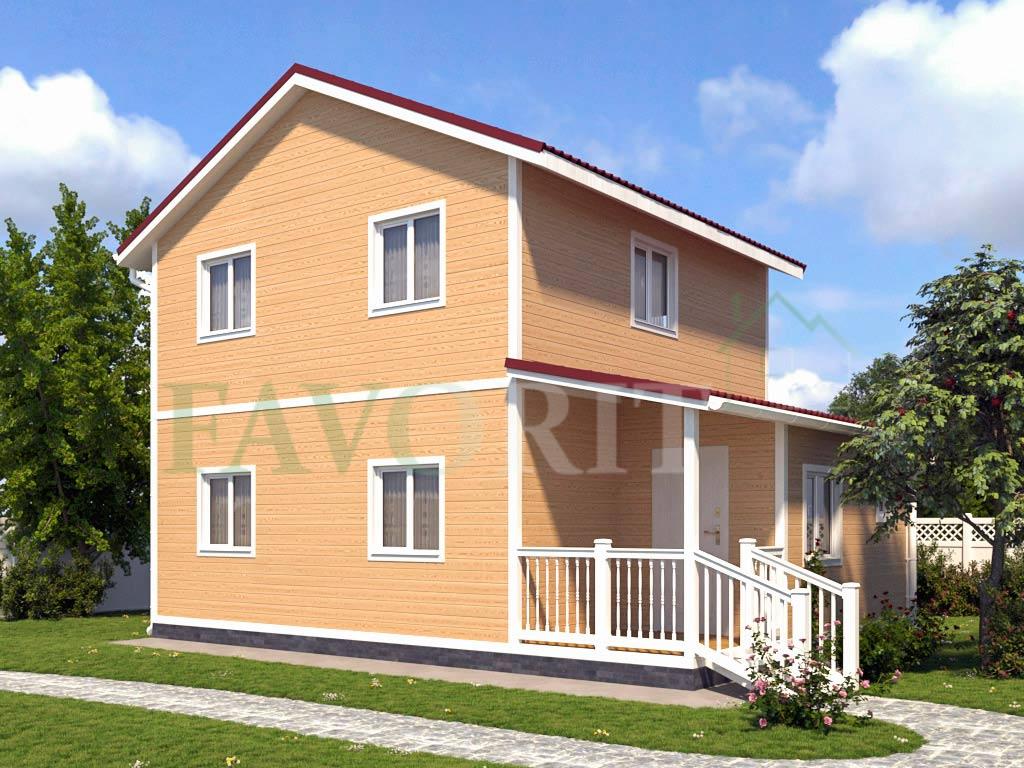 Каркасный дом 8х6 с террасой 2х2 – фото 1