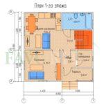Планировка 1 этажа каркасного дома 8х8 с террасой 1,5х3,6
