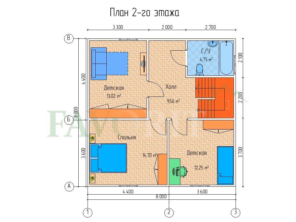 Планировка 2 этажа каркасного дома 8х8 с террасой 1,5х3,6