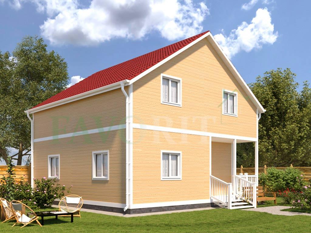 Каркасный дом 8х8 с террасой 1,5х3,6 – фото 2