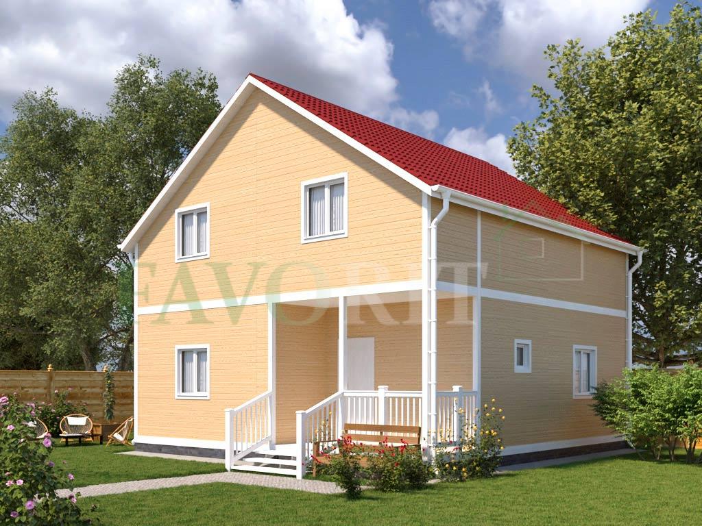 Каркасный дом 8х8 с террасой 1,5х3,6 – фото 1