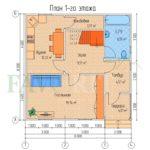 Планировка 1 этажа каркасного дома 8х8 с террасой 2х2