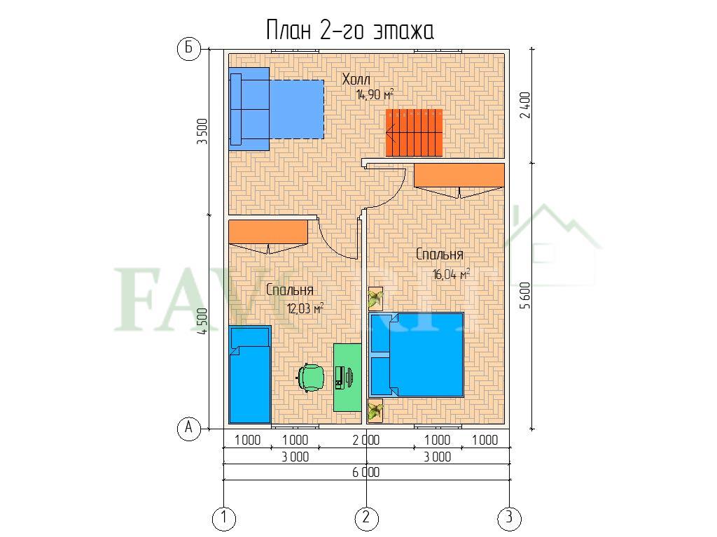 Планировка 2 этажа каркасного дома 8х8 с террасой 2х2