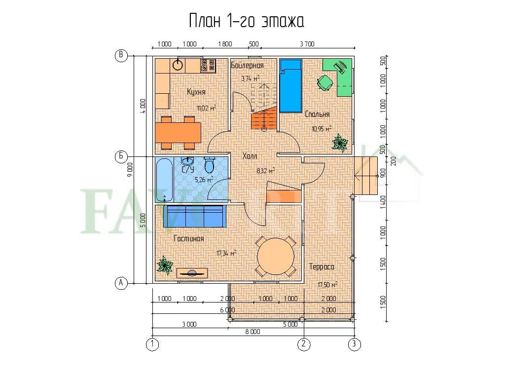 Планировка 1 этажа каркасного дома 8х9 с террасой 6,5х5
