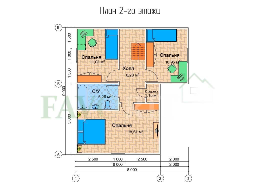 Планировка 2 этажа каркасного дома 8х9 с террасой 6,5х5