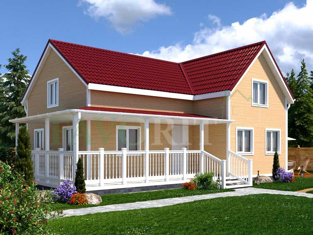 Каркасный дом 8х9 с террасой 6,5х5 – фото 1