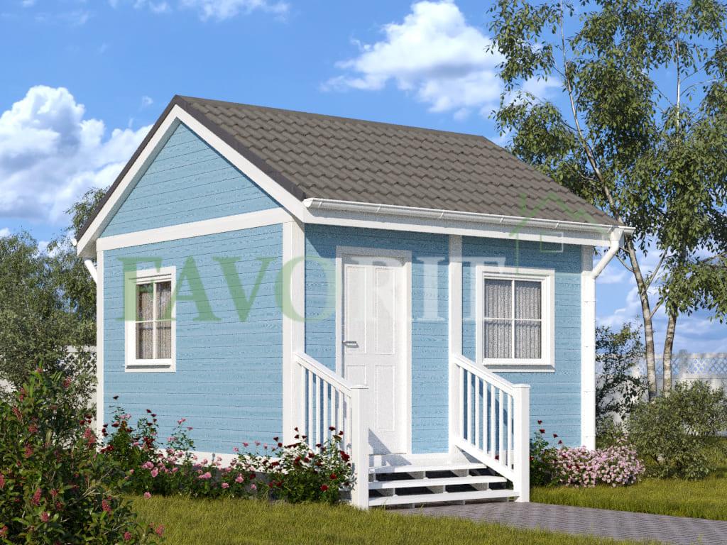 Каркасный дом 2,5х4 с верандой 1,5х4 – фото 1