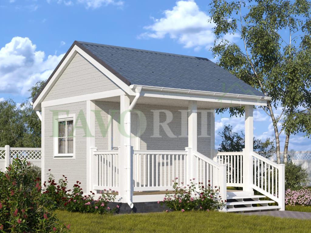 Каркасный дом 2,5х4 с террасой 1,5х4 – фото 1
