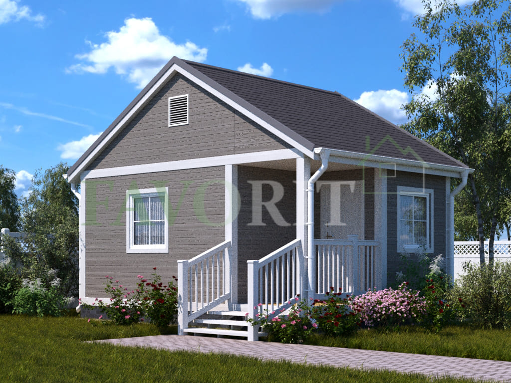 Каркасный дом 4х4 с террасой и верандой 1,5х2 – фото
